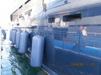 Inflatable fenders on yacht in Monaco